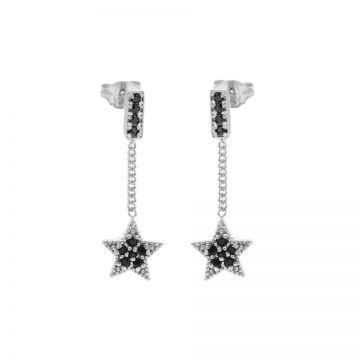 Chainstuds Black Zirconia Star Silver