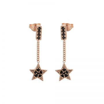 Chainstuds Black Zirconia Star Roseplated