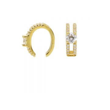 Earcuff Double Zirconia Row Goldplated (1 piece)