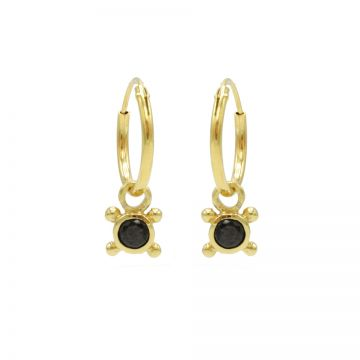 Hoops Symbols Black Zirconia Single Stone 4 Dots Goldplated