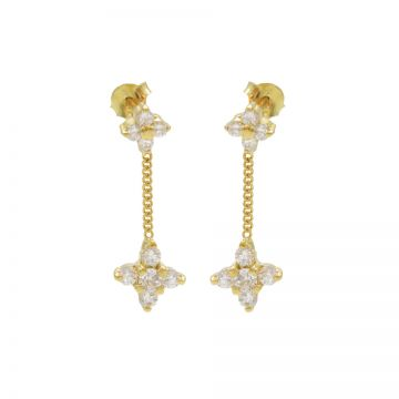 Chainstuds Zirconia Flowers Goldplated