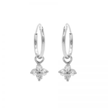 Hoops Symbols Zirconia Tiny Flower Silver
