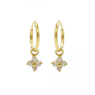 Hoops Symbols Zirconia Tiny Flower Goldplated