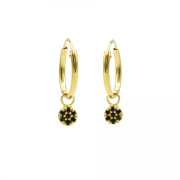 Hoops Symbols Black Zirconia Mini Disc Goldplated