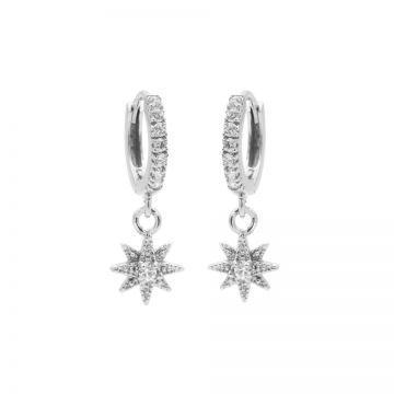 Zirconia Hinged Hoops Symbols Morningstar 3 Silver