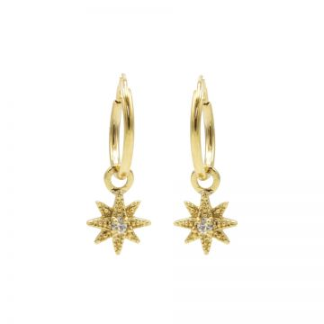 Hoops Symbols Zirconia Morningstar 3 Goldplated