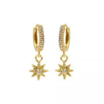 Zirconia Hinged Hoops Symbols Morningstar 3 Goldplated