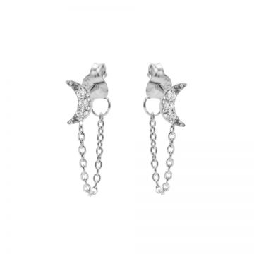 Chain Zirconia Moon Silver