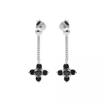 Chainstuds Black Zirconia Dot Flowers Silver