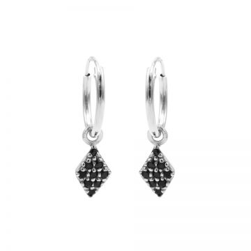 Hoops Symbols Black Zirconia Diamond Silver