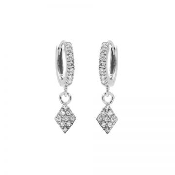 Zirconia Hinged Hoops Diamond II Silver