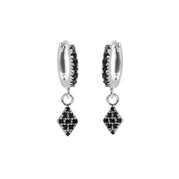Zirconia Black Hinged Hoops Diamond II Silver