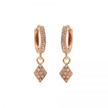 Zirconia Hinged Hoops Diamond II Roseplated