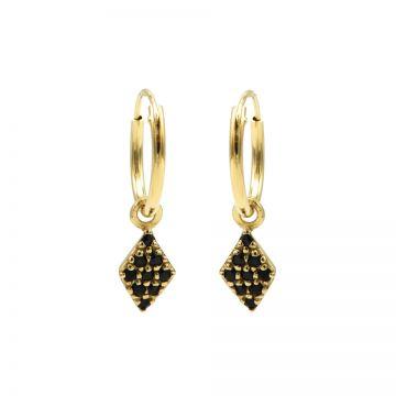 Hoops Symbols Black Zirconia Diamond Goldplated