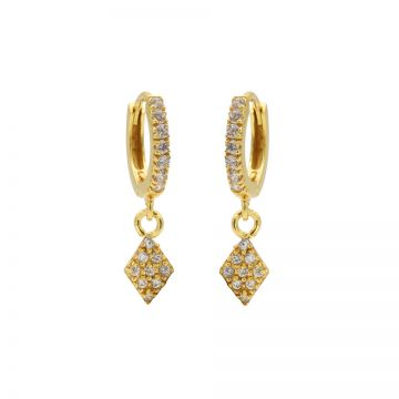 Zirconia Hinged Hoops Diamond II Goldplated