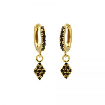 Zirconia Black Hinged Hoops Diamond II Goldplated