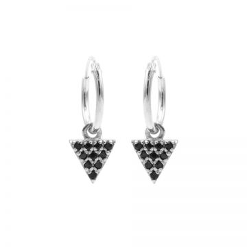 Hoops Symbols Black Zirconia Triangle 2 Silver