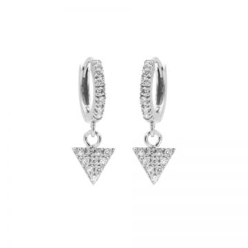 Zirconia Hinged Hoops Triangle Silver