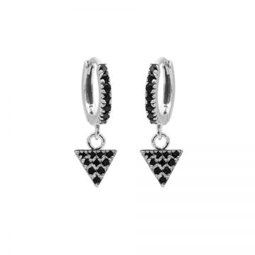 Zirconia Black Hinged Hoops Triangle Silver