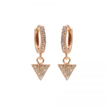 Zirconia Hinged Hoops Triangle Roseplated
