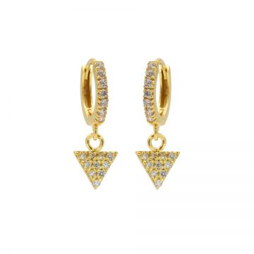 Zirconia Hinged Hoops Triangle Goldplated