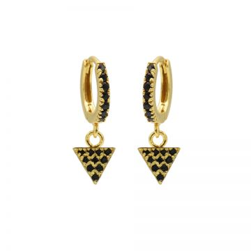 Zirconia Black Hinged Hoops Triangle Goldplated