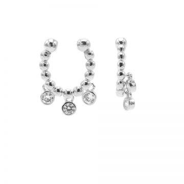 Earcuff Dots Triple Hanging Zirconia Silver (1 piece)