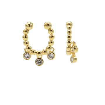 Earcuff Dots Triple Hanging Zirconia Goldplated (1 piece)