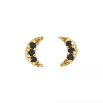 Karma Black Zirconia Symbols Moon 2 Goldplated