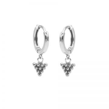 Hinged Hoops Dots Triangle Silver