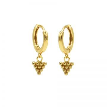Hinged Hoops Dots Triangle Goldplated