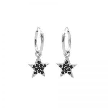 Hoops Symbols Black Zirconia Bright Star Silver