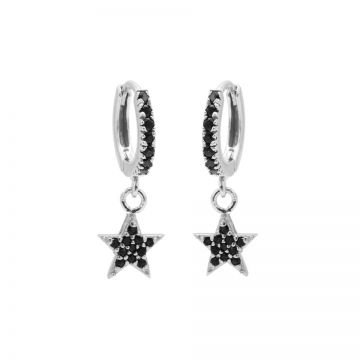 Zirconia Black Hinged Hoops Star Silver
