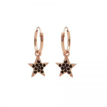 Hoops Symbols Black Zirconia Bright Star Roseplated