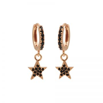 Zirconia Black Hinged Hoops Star Roseplated
