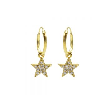 Hoops Symbols Zirconia Bright Star Goldplated