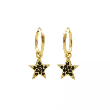 Hoops Symbols Black Zirconia Bright Star Goldplated