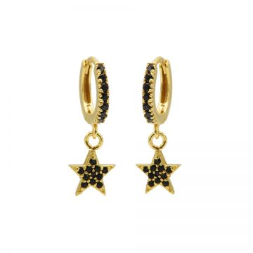 Zirconia Black Hinged Hoops Star Goldplated