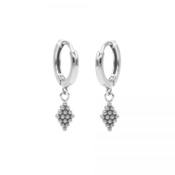 Hinged Hoops Dots Diamond Silver