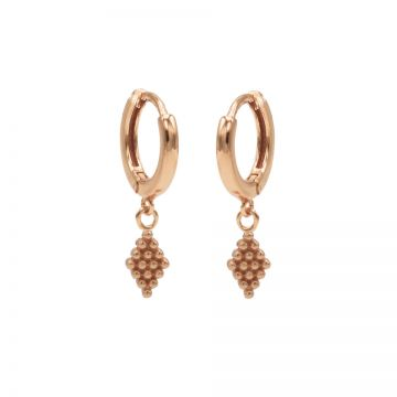 Hinged Hoops Dots Diamond Roseplated
