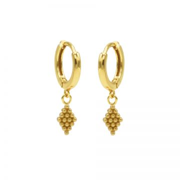 Hinged Hoops Dots Diamond Goldplated