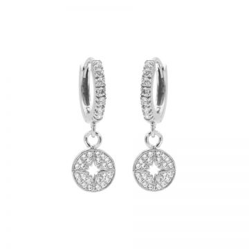 Zirconia Hinged Hoops Morningstar Disc Silver