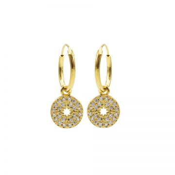 Hoops Symbols Zirconia Disc Morningstar Goldplated