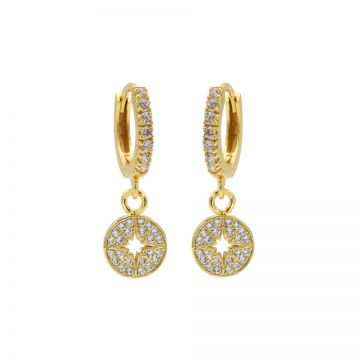 Zirconia Hinged Hoops Morningstar Disc Goldplated