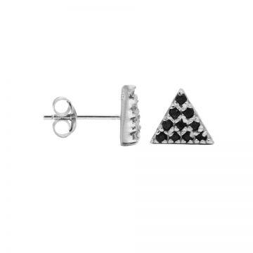 Karma Black Zirconia Symbols Triangle 2 Silver