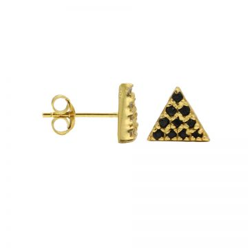 Karma Black Zirconia Symbols Triangle 2 Goldplated