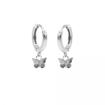 Hinged Hoops Butterfly Silver