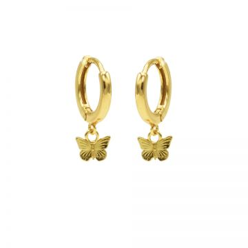 Hinged Hoops Butterfly Goldplated