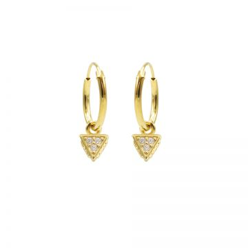 Hoops Symbols Zirconia Triple Dots Triangle Goldplated
