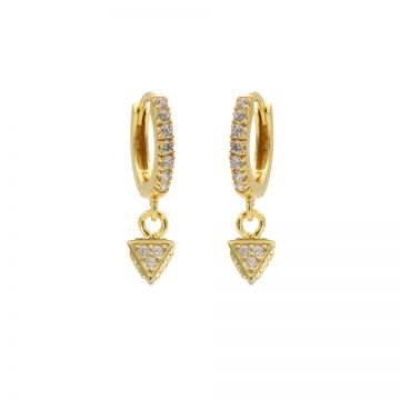 Zirconia Hinged Hoops Triangle Dots Goldplated